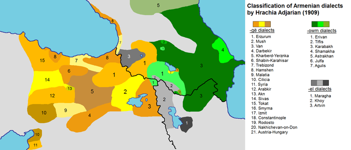 Map of the Armenian dialects in early 20th century: -owm dialects, nearly corresponding to Eastern Armenian -el dialects (intermediate) -ge dialects, nearly corresponding to Western Armenian Armenian dialects, Adjarian 1909.png