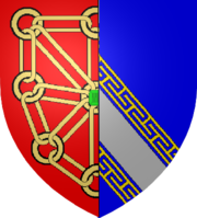 Coat of arms with Navarrese chains-on-red on the left and Champagne diagonal-stripe-on-blue on the right