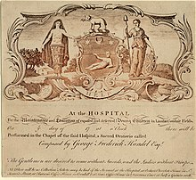 Uncompleted admission ticket for the May 1750 performance of Messiah, including the arms of the venue, the Foundling Hospital (Source: Wikimedia)