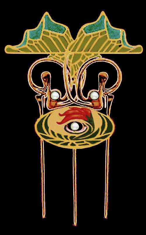 Art Nouveau jewel design diseño joya modernista