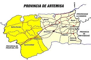 Artemisa Province - Map of Artemisa Province. Deep yellow color indicates former municipalities of Pinar del Río Province