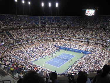 The Arthur Ashe Stadium (pictured here in 2006) was the venue for the 2020 US Open finals. Arthurashestadium.jpg