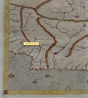 Alexandria Carmania - Mercator 1569 world map showing Alexandria.