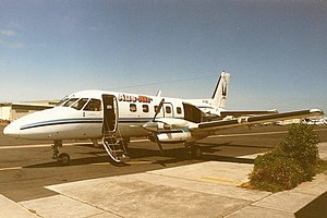 Aus-Air Embraer EMB 110 Bandeirante (VH-OZG) at Moorabbin Airport.jpg