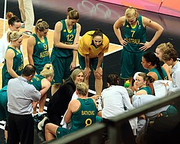Australian Team Talk - London 2012 Olympics Womens Basketball (Australia v Russia).jpg