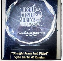 Vybz Kartel And Rvssian Received The YVA Award 2011 For Their Hit Single Straight Jeans Fitted