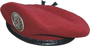 9th Parachute Chasseur Regiment - Circled Winged Armed Dextrochere worn on Red Beret of French Metropolitan Paratroopers