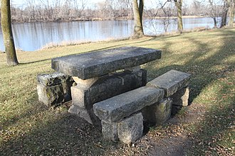 National Youth Administration - NYA stone picnic table in Babcock Wayside on the Mississippi River in Minnesota
