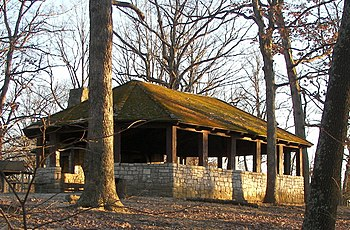 English: A picnic shelter at Babler State Park...