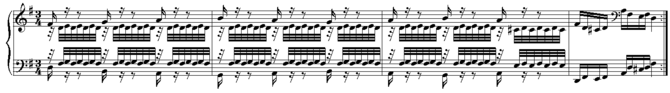 The last 4 bars of the first section of Variat...