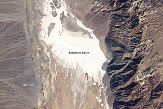 Death Valley - A Landsat 5 satellite photo of Badwater Basin dry lake on February 15, 2007