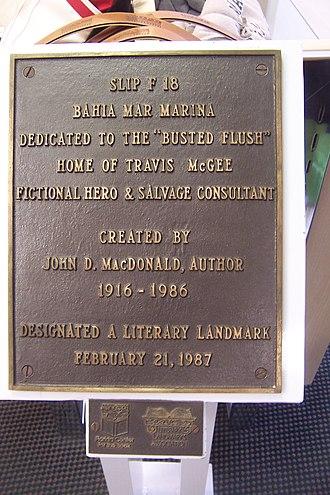Travis McGee - Image: Bahia Mar Slip F 18 plaque