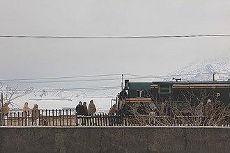 Quetta - Passengers boarding a Chaman bound train at Baleli, Quetta