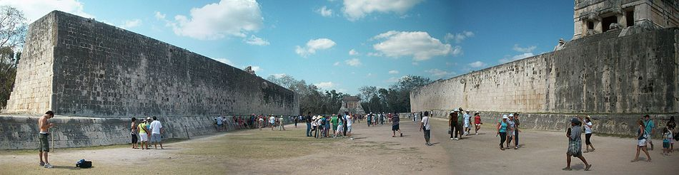 Ball Court of the Chichen Itza Panoramic.JPG