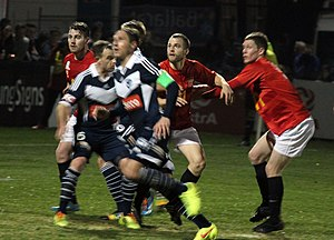 Ballarat City FC - Ballarat Red Devils playing a friendly game against Melbourne Victory at Morshead Park in 2014.