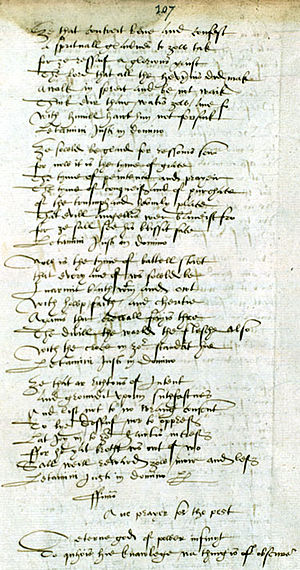 Bannatyne Manuscript - A page from The Bannatyne Manuscript. (National Library of Scotland) At the foot of the page is the opening of Henryson's Ane Prayer for the Pest.