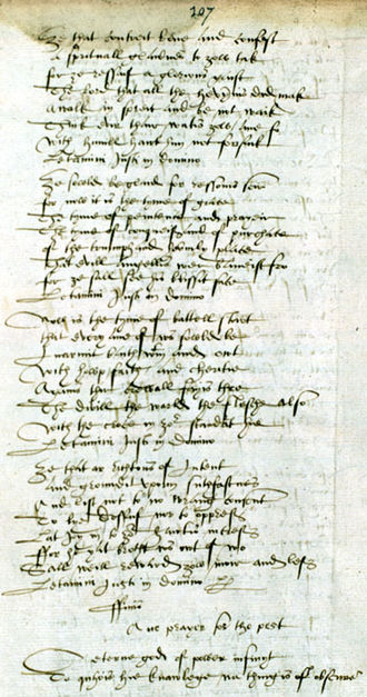 Poetry of Scotland - A page from The Bannatyne Manuscript, the major source for Scottish Medieval and Early Modern poetry