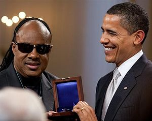 Stevie Wonder - Barack Obama presents Wonder with the Gershwin Prize in 2009.