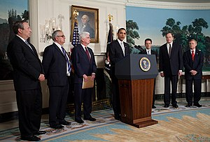 Dodd–Frank Wall Street Reform and Consumer Protection Act - President Barack Obama addresses reporters about the economy and the need for financial reform in the Diplomatic Reception Room of the White House on February 25, 2009.