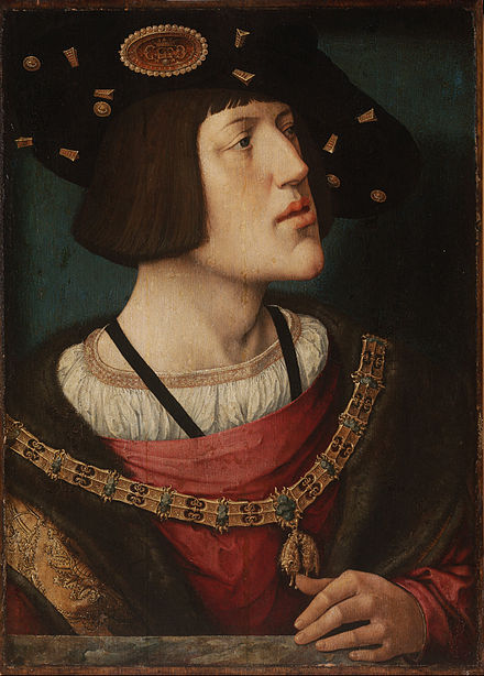 Portrait by Bernard van Orley, 1519. The insignia of the Order of the Golden Fleece are prominently displayed. Barend van Orley - Portrait of Charles V - Google Art Project.jpg