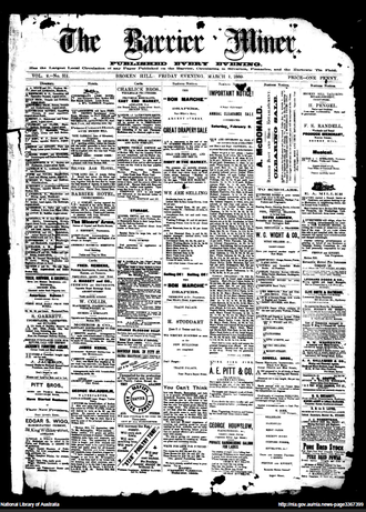 The Barrier Miner - Front page of the Barrier Miner newspaper 1 March 1889