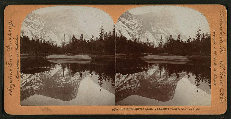 Beautiful Mirror Lake, Yosemite Valley, Cal. U.S.A, by Singley, B. L. (Benjamin Lloyd) 10.jpg