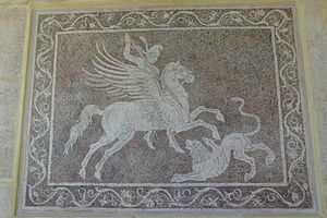 Bellerophon killing Chimaera mosaic from Rhodes