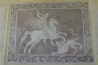 Chimera (mythology) - Pebble mosaic depicting Bellerophon killing the Chimera, from Rhodes archaeological museum