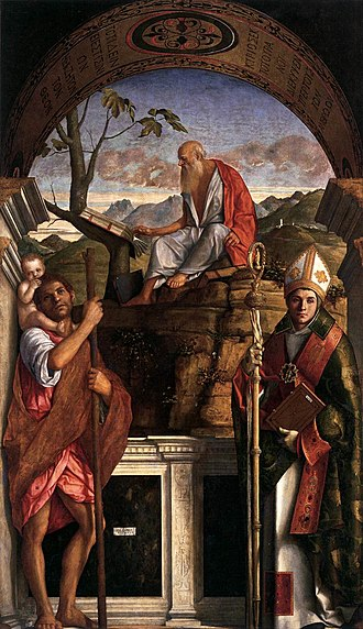 San Giovanni Grisostomo, Venice - Image: Bellini, Sts Christopher, Jerome and Louis of Toulouse