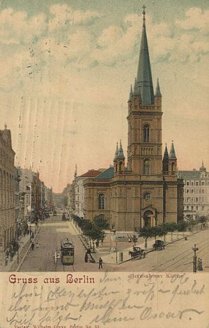 Jerusalem Church (Berlin) - Jerusalem Church in 1906, seen from south (Lindenstraße), view into Jerusalemer Straße with Lindenstr. continuing to the right