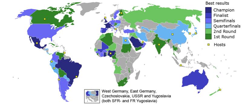 Mapo de la plej bonaj rezultoj por ĉiu lando
