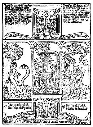 Biblia pauperum - Three episodes from a block-book Biblia Pauperum illustrating typological correspondences between the Old and New Testaments: Eve and the serpent, the Annunciation, Gideon's miracle