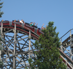 Big Dipper (Geauga Lake) - Big Dipper's train on the first hill