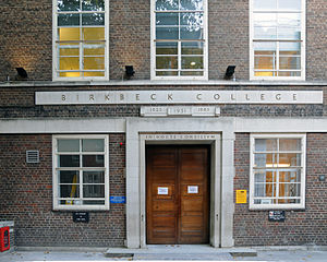 Birkbeck, University of London - The former main entrance of Birkbeck College; the new entrance is on the other side of this building.