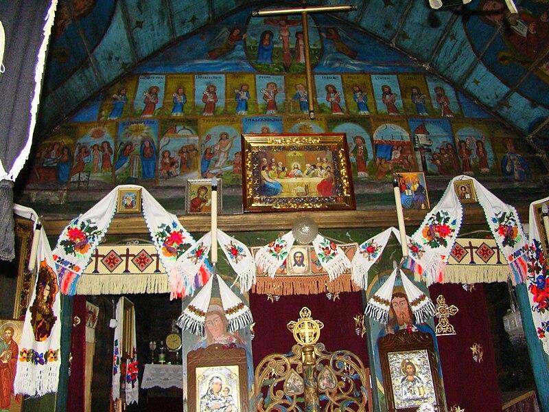 File:Biserica de lemn din poiana Botizii-interioare (10).JPG