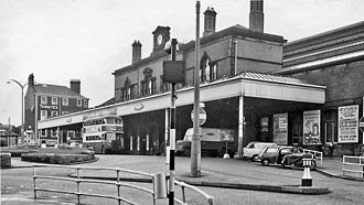 Blackburn railway station - Exterior view in 1965