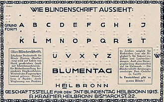 German Braille - Image: Blindenschrift 1915