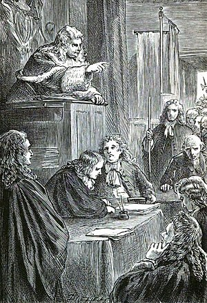 "Bloody Assizes - A 19th-century artist's impression of Judge Jeffreys presiding over the ""Bloody Assizes""."