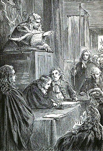 """Bloody Assizes - A 19th-century artist's impression of Judge Jeffreys presiding over the """"Bloody Assizes""""."""