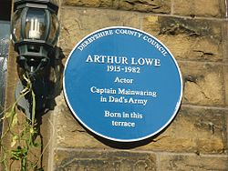 Photo of Arthur Lowe blue plaque