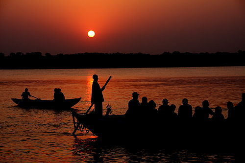 The Ganges at sunrise at Varanasi - Varanasi