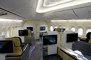 Airline - First class passenger cabin (Boeing 747-830, Lufthansa at LAX)
