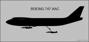 Silhouette diagram of 747 airborne aircraft carrier aircraft
