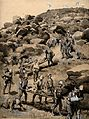 Boer War; removing the wounded after battle. Brush and wash Wellcome V0015549.jpg