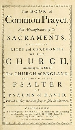 The Book of Common Prayer of 1662 included the Thirty-nine Articles. Book of Common Prayer 1760.jpg