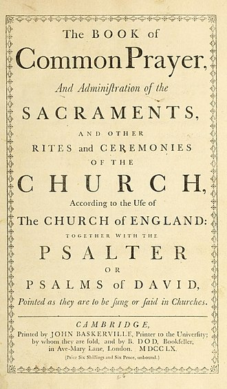 Book of Common Prayer - A 1760 printing of the 1662 Book of Common Prayer