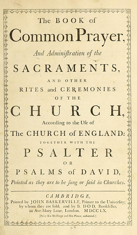 The Prayer Book of 1662 included the Thirty-Nine Articles emphasized by evangelical Anglicans. Book of Common Prayer 1760.jpg