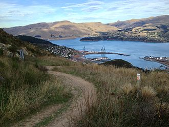 Bridle Path (New Zealand) - Looking down to Lyttelton Harbour from the top of Bridle Path