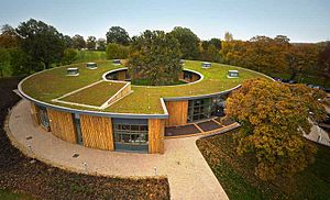 British Horse Society - The new British Horse Society HQ circles an ancient Oak tree and is topped with a Sedum green roof