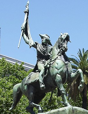 Army of the North - Manuel Belgrano, one of the main revolutionary leaders, was a lawyer and economist; had to improvise himself as a soldier to take charge of the independentist armies sent to Paraguay and Upper Peru. Statue in Plaza de Mayo (Buenos Aires)
